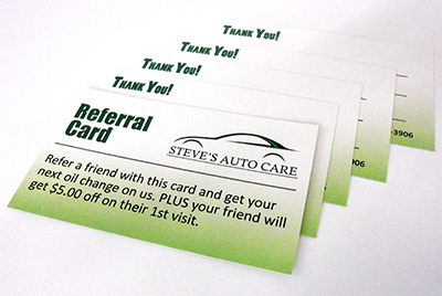 Refer a friend steves auto care when a referred customer brings in that card she will receive 5 off parts and labor and you receive a free oil change on your next visit colourmoves