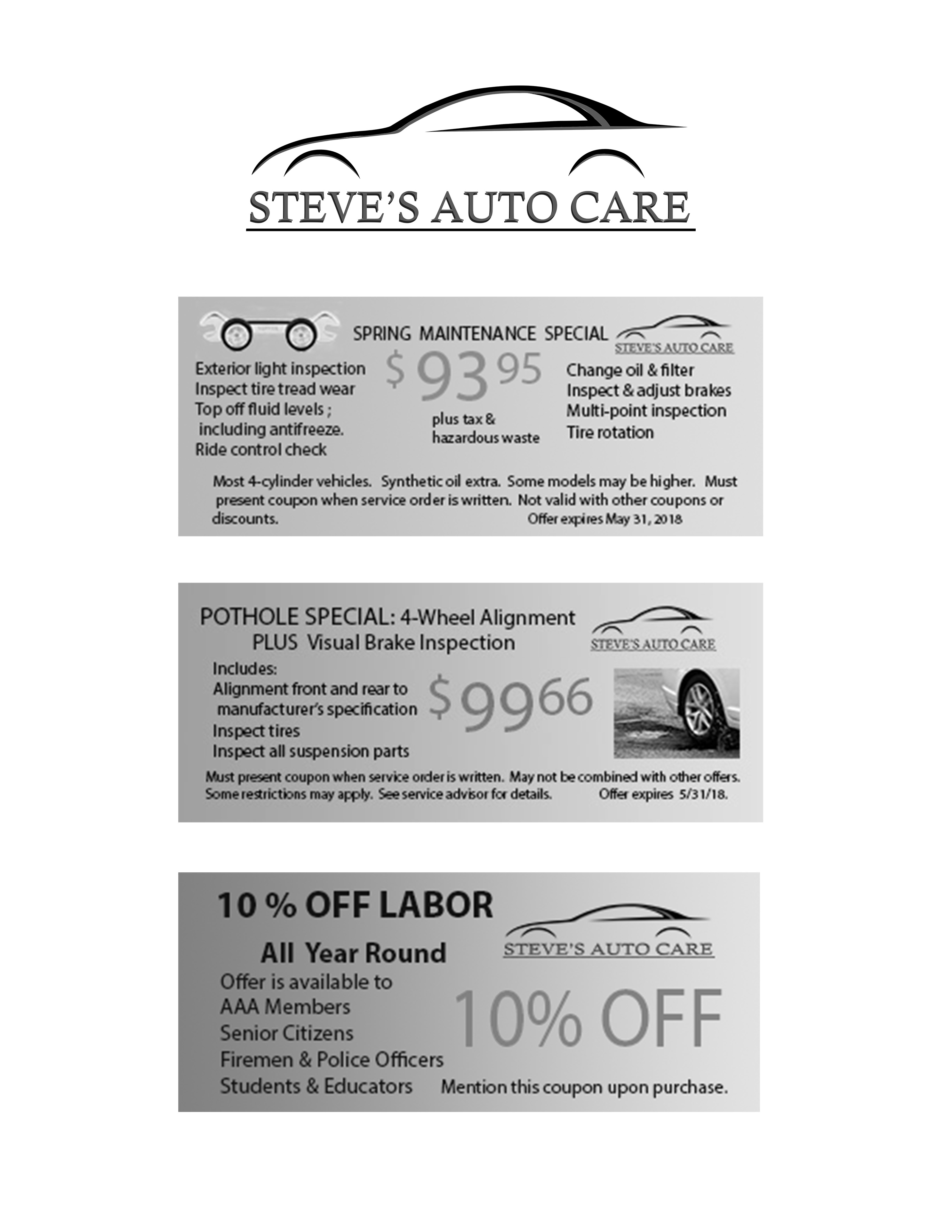 Coupons Steve s Auto Care